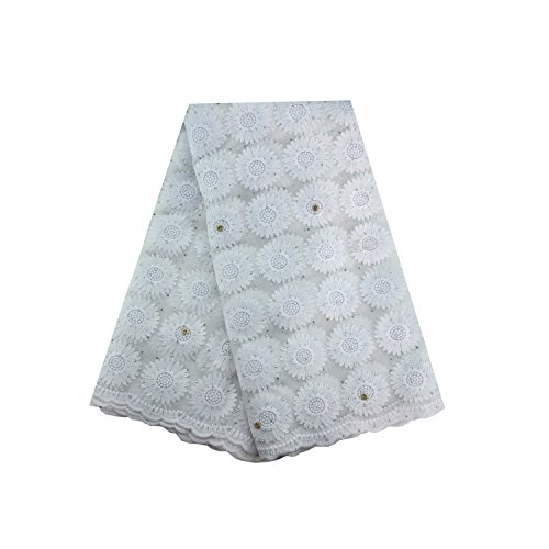 LaceQin 5 Yards African Lace Lace Nigerian Bud Silk Screen Embroidery and Diamond Embroidered lace (White)