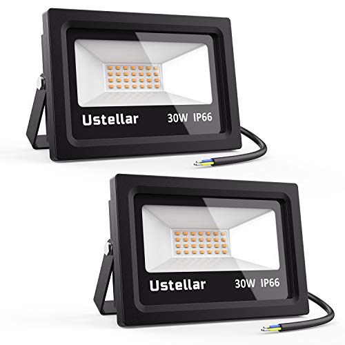 Ustellar 2 Pack 30W LED Flood Light, IP66 Waterproof, 2100lm, 150W Halogen Bulb Equivalent Outdoor Super Bright Security Lights, 2700K Warm White, Floodlight Landscape Wall Lights