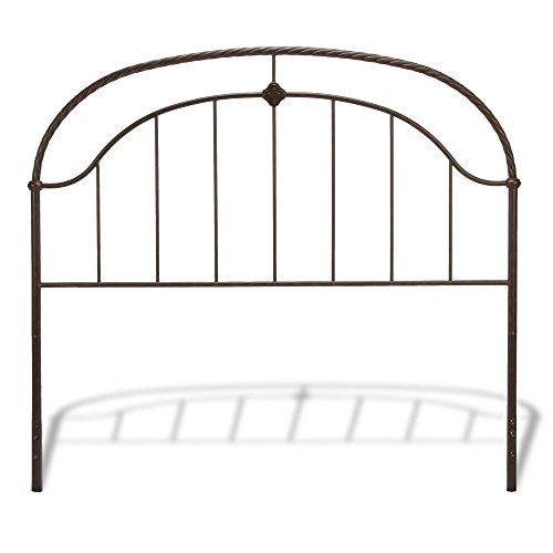 Wesley Allen Steel Headboard - Cascade Headboard with Metal Panel and Twisted-Rope Rail, Ancient Gold Finish, California King