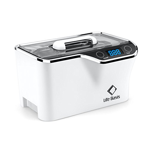 Life Basis 600ml Ultrasonic Jewelry Cleaner with Digital Timer and Cooling Fan for Cleaning Eyeglasses, Earrings, Rings, Necklaces, Coins, Razors, Dentures, Combs, Tools, Parts, - Cooling Glass Auto Eye