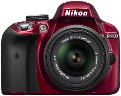 Nikon D3300 1533  24.2 MP CMOS Digital SLR with Auto Focus-S DX NIKKOR 18-55mm f/3.5-5.6G VR II Zoom Lens - Red