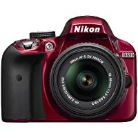 Nikon D3300 1533  24.2 MP CMOS Digital SLR with Auto Focus-S DX NIKKOR 18-55mm f/3.5-5.6G VR II Zoom Lens - Red