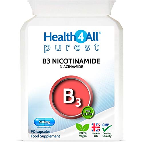 Vitamin B3 Nicotinamide (Niacinamide) 500mg 90 Capsules (V) Purest- no additives. Vegan. No-Flush Niacinamide. Made by…