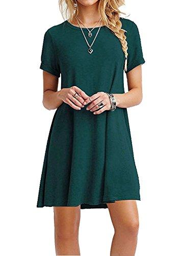 Womens Short Sleeve Casual Loose Swing Basic Cotton Simple Tunic T Shirt Dresses Ze2004 Dark Green Large