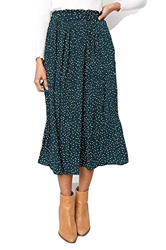 (Women's Polka Dot Midi Pleated Length Skirts with Pockets Elastic Waist (Green, Medium))