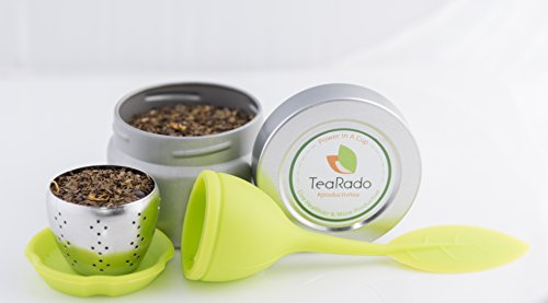 Loose Leaf Tea Travel Set | Wild-Harvested Texas Yaupon | Stainless Steel Infuser & Drip Pad | Packaged in Reusable Airtight Tins, Carry Anywhere and Brew (Texas Yaupon, Green) by Tearado Tech