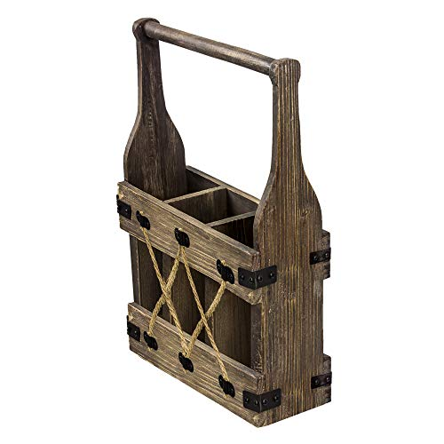 American Art Decor 3 Bottle Wood and Metal Tabletop Wine Rack Holder with Handle - Farmhouse Decor