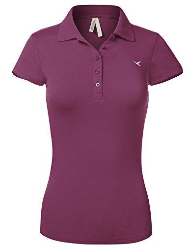 Luna Flower Slim Fit Long Waist Short Sleeve Plain Polo Tee Shirts 102-Magenta US M