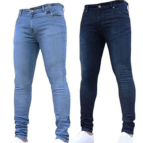 Uomo Slim Denim Battercake Fit Jeans Da Stretch Casual Basic Pantaloni Comodo Hellblau Skinny RxtRwnaFq