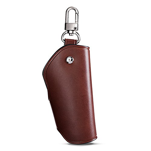Unisex Real Leather Key Bag Key Chain Case Car Key Holder (Brown) Photo #3