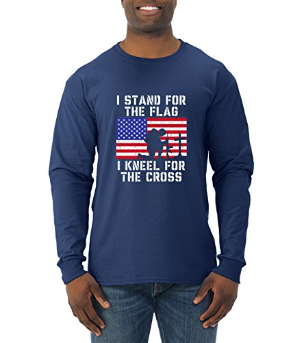 I Stand for The Flag I Kneel for The Cross | Mens Americana/American Pride Long Sleeve Tee Graphic T-Shirt, Navy, X-Large Crosses Long Sleeve Mens T-shirt