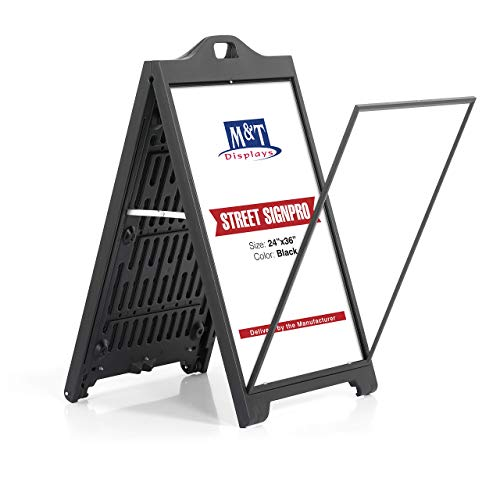 (Street SignPro Poster, A-Frame Sidewalk Curb Sign, Folding Portable Double Sided Advertising Display Sandwich Board (24x36 Without Lens,)