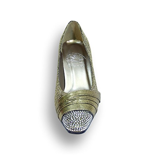 Fic Floreale Dolly Donne Ampia Larghezza Del Vestito Pompa (dimensioni E Guide Di Misurazione Disponibili) Oro