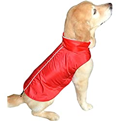 Water Resistant Dog Jacket, Fleece Lined, Warm, Dog Accessory, For Small, Medium & Large Pet Dogs (Red, Large), by Downtown Pet Supply