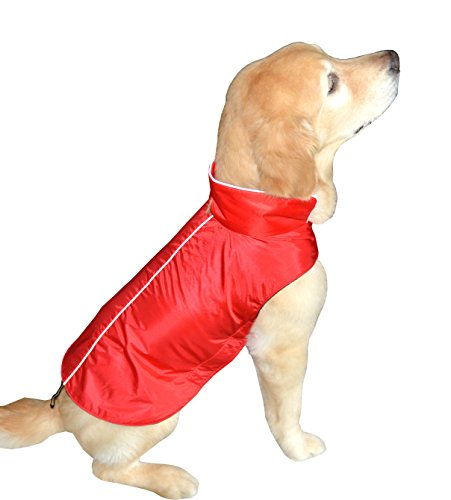 Downtown Pet Supply Water Resistant Dog Jacket, Fleece Lined, Warm, Dog Accessory, for Small, Medium & Large Pet Dogs (Red, XX-Large)