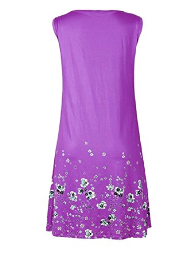 Colored Solid Mid Women Coolred Drape and Print Purple Dress Maxi Sleeveless Over Sized c0qYOBqw