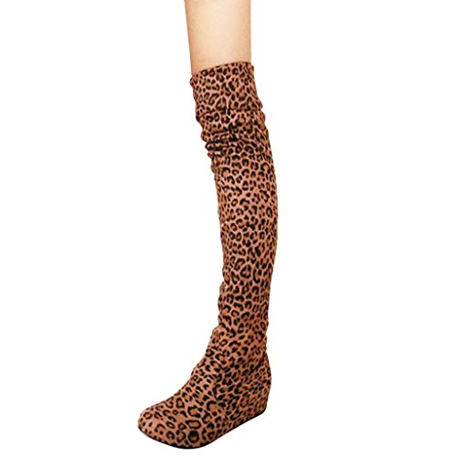 Hee Grand Damen Maedchen Kniehohe Stiefel Kailabsatz Stiefel Winter Schuhe Gelb Leopard