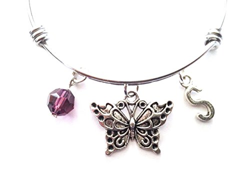 Antique Butterfly Bracelet - Butterfly themed personalized bangle bracelet. Antique silver charms and a genuine Swarovski birthstone colored element.