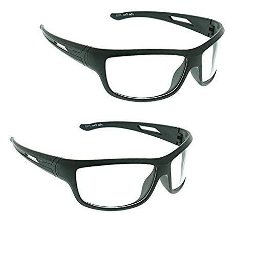 Dervin Unisex Wrap Around Night Drive Sunglasses – Combo of 2, White
