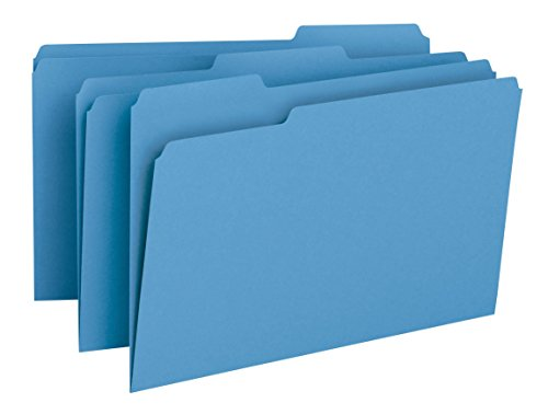 - Smead File Folder, 1/3-Cut Tab, Legal Size, Blue, 100 per Box (17043)