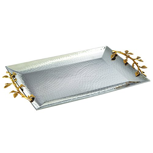 Elegance 70038 Golden Vine Gilt Leaf serving and decorative tray, 16 inch by 11 inch, Gold, - Gold Leaf 16