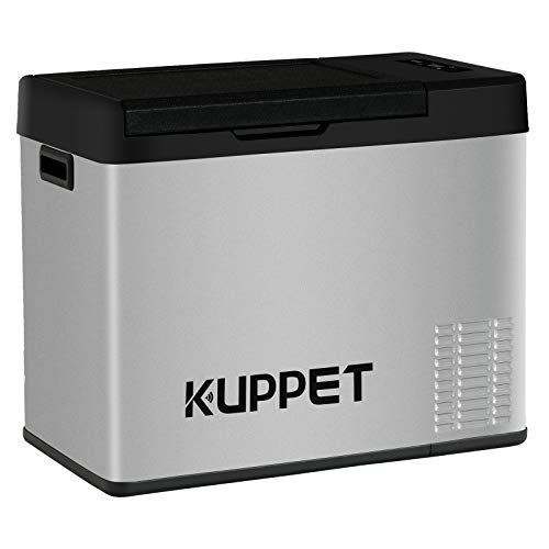 KUPPET Portable Refrigerator/Freezer 24Qt, Car Fridge, Dual Temperature Electric Cooler for Truck Party, Travel, Picnic Outdoor, Camping and Home use -12/24V DC and 100-240V AC, -4°F ~ 68°F (Dc Chest Freezer)