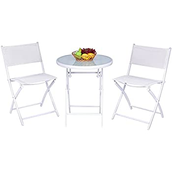 Giantex 3 PCS Folding Bistro Table Chairs Set Garden Backyard Patio Outdoor Furniture (White)  sc 1 st  Amazon.com & Amazon.com: Giantex 3 PCS Folding Bistro Table Chairs Set Garden ...