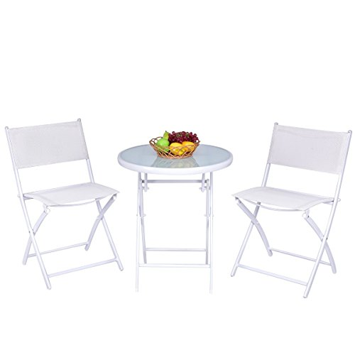 Giantex 3 PCS Folding Bistro Table Chairs Set Garden Backyard Patio Outdoor Furniture (White) by Giantex