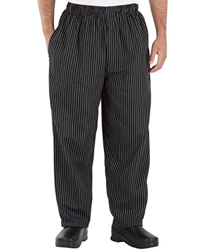 Happy Chef Poly Cotton Print Baggy Pants, Large, Black Pinstripe by Happy Chef