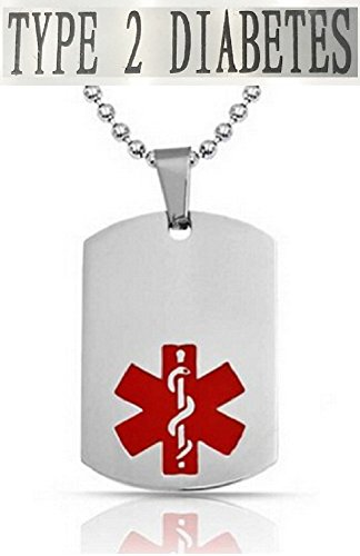 TYPE 2 DIABETES Medical Alert Engraved Dog Tag With 22 Chain - All Stainless Steel (Alle 2 Tag)