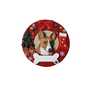 Basenji Christmas Ornament Wreath Shaped Easily Personalized Holiday Decoration Unique Basenji Lover Gifts 45