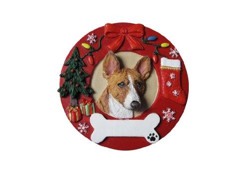 Basenji Ornaments - Basenji Christmas Ornament Wreath Shaped Easily Personalized Holiday Decoration Unique Basenji Lover Gifts