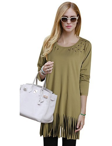GSP-Damen Kleid - Lose Übergröße / Sexy Solide Mini Polyester Rundhalsausschnitt