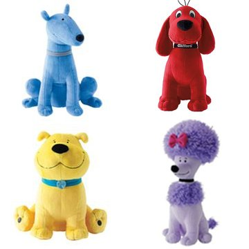 Clifford and Friends - Set of 4 - 14'' Jumbo Plush: Clifford, Cleo, T-bone, Mac