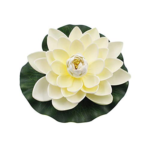 super1798 Artificial Lotus Flower Fake Floating Water Lily Garden Pond Fish Tank Decor Plant-Milk White