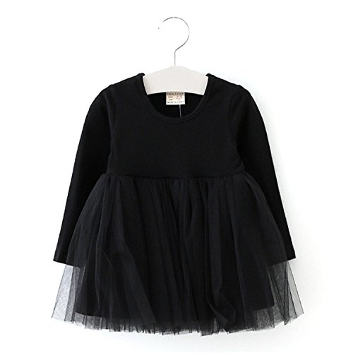 Price comparison product image Baby Girl Dress Cotton Long Sleeve Solid Mesh Veil Bubble Lace Princess Dresses Girls Kids Clothes 1-4 Years