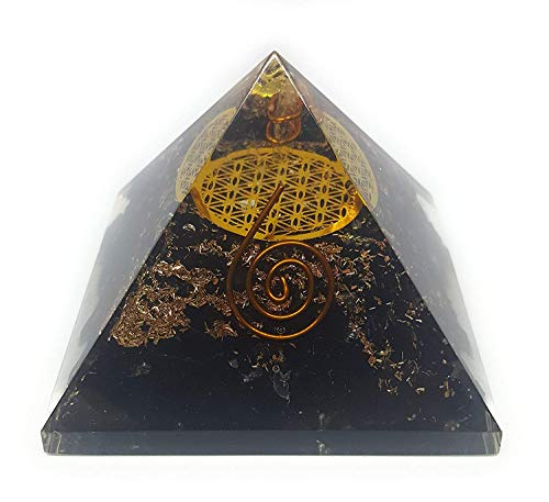 - Orgone Black Tourmaline Pyramid with The Flower of Life Symbol/Energy Generator with 4 Crystal Points, Reiki, Emf Protection & Zipper Pouch/Balancing Positive Energy & Negative Energy Removal