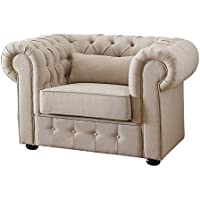 Homelegance 8427-1 Grand Chesterfield Button Tufted Upholstered Fabric Rolled Arm Chair