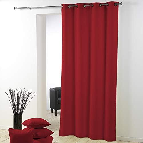 Douceur D'Intérieur – 1603523, Tenda Con Occhielli , 140 X 280 Cm , Essentiel , Poliestere Unito , Rosso