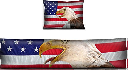 Liili Mouse Wrist Rest and Keyboard Pad Set, 2pc Wrist Support IMAGE ID: 4945729 Regal bald eagle wearing military dog tags on a flag ()