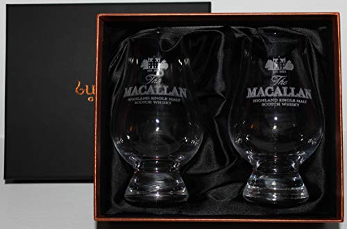 MACALLAN TWO GLASS GLENCAIRN SCOTCH WHISKY BLACK AND GOLD PRESENTATION BOX SET