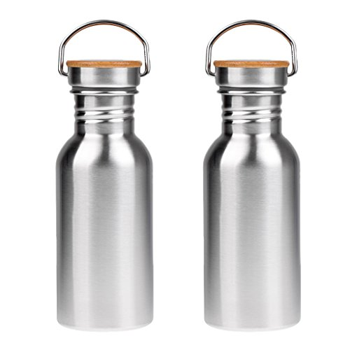 MagiDeal 2pcs Stainless Steel Water Bottle - Insulated Metal Water Bottle Travel or Gym BPA Free with Leak Proof Lid - Keeps Drinks Hot or Cold and Fits Standard Cup Holders by MagiDeal