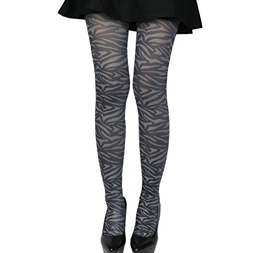 Women Lady Wild Animal Zebra Print Tight Pantyhose Stockings, Small Size (gray zebra)