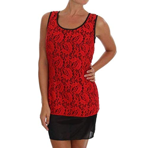 - Dolce & Gabbana Red Floral Lace Blouse Top