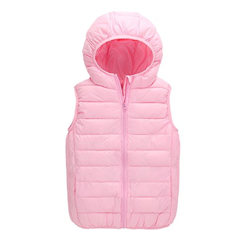 CNMUDONSI Kids Boy's and Girl's Winter Spring Cotton Vest Hooded Lightweight Sleeveless Jacket Waistcoat (S005Pink, 6)