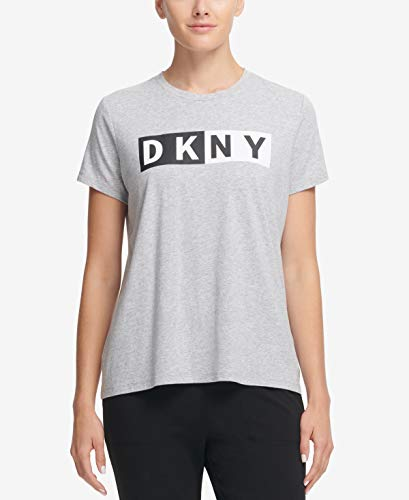 DKNY Womens Crewneck Short Sleeve Tee (Heather Grey, Small) ()