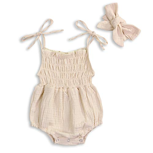 KCSLLCA Baby Girls Sleeveless Romper Set Solid Color Sling Backless Jumpsuit Outfits with Headband (Beige, 6-12 Months)