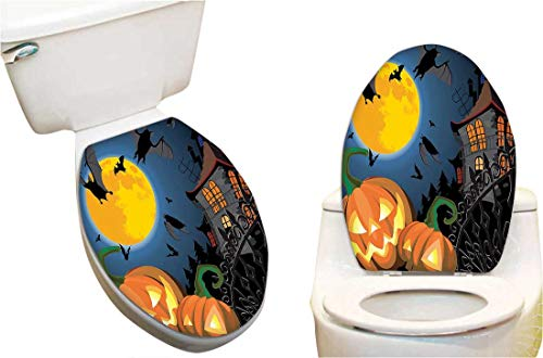 SeptSonne Toilet Cover Sticker Gothic Scene with Halloween Haunted House Party Theme Trick or Treat Creative Toilet Cover Stickers -