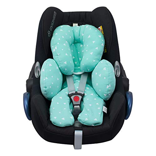 Infant Car Seat Mint - Reducer Cushion Infant Head & Baby Body Support Antiallergic Janabebe Mint Sparkles