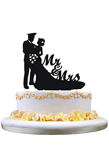 Funny cake topper,police Groom wedding cake topper,Mr & Mrs cake topper for cake decor]()